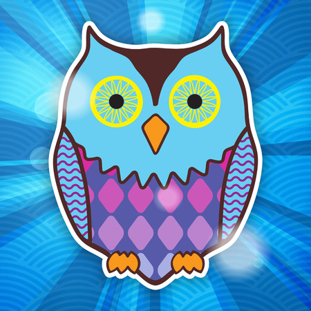motley: cute motley owl on a blue background with rays
