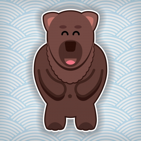 waved: happy cute bear on a waved background