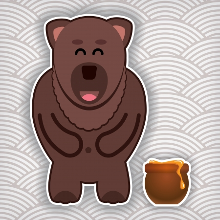 waved: happy cute bear with pot of honey on a waved background Illustration