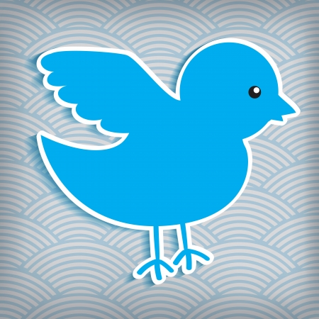 waved: cute blue bird on a waved background