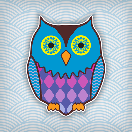 cute motley owl on a waved background Stock Vector - 23124682