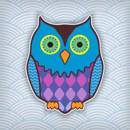 motley: cute motley owl on a waved background