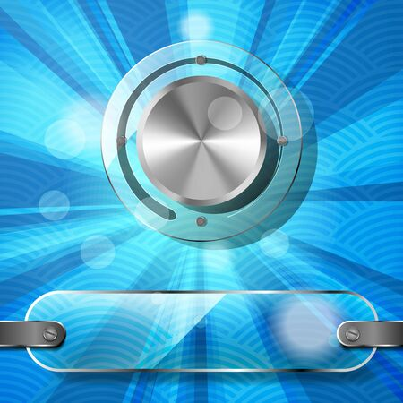 waved: Chrome volume knob with transparency plate and rays on the blue waved background Illustration