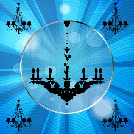 silhouette of luxury chandeliers with rays on a blue waved background Stock Vector - 23124691