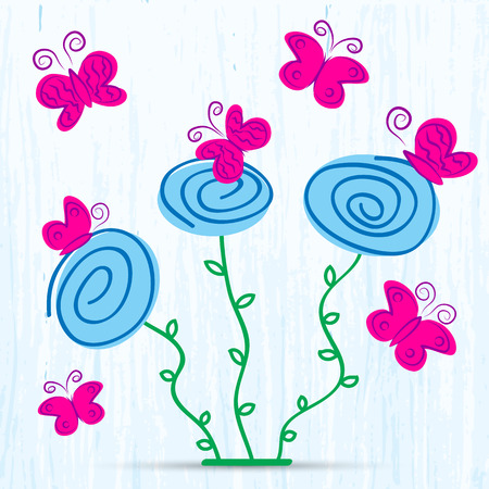 illustration of abstract spring flowers with butterflys Vector