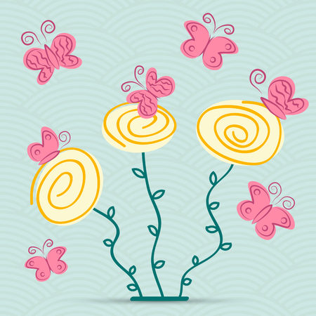abstract spring flowers with butterflys on a waved background Vector
