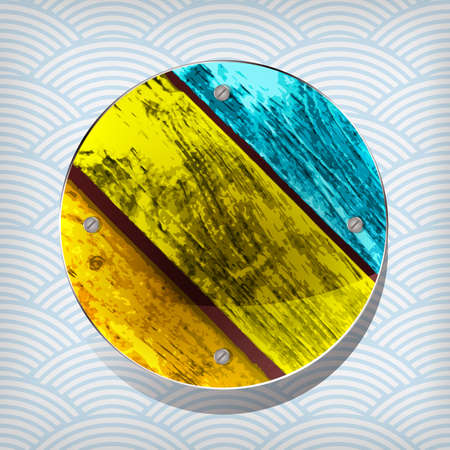 colorful wooden circular plate on the waved background  Vector