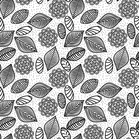 black lines flowers, leaves and stones seamless pattern  Vector