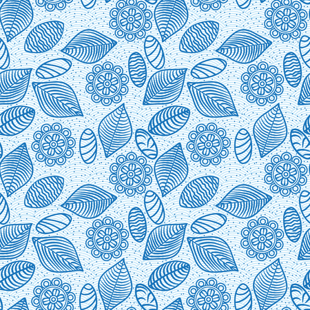 blue lines: blue lines flowers, leaves and stones seamless pattern wallpaper  Illustration