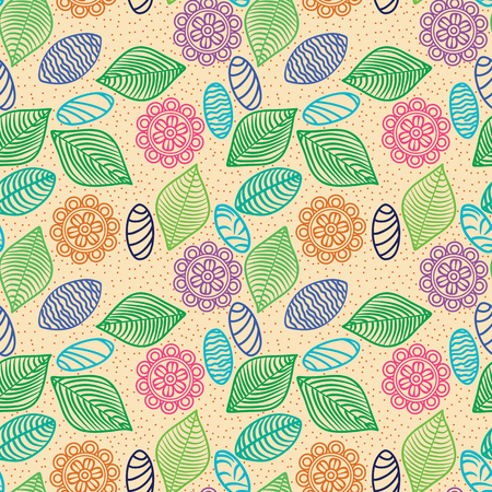 colorful seamless pattern of flowers, leaves and stones for wallpaper Vector