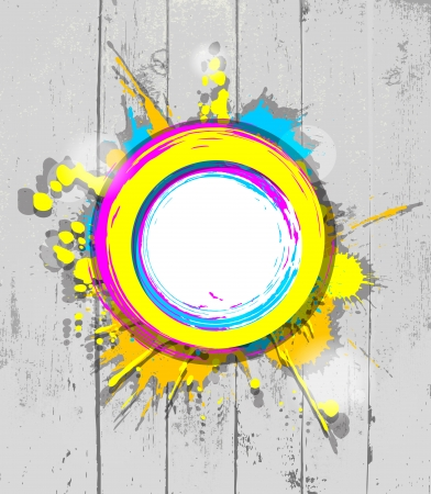 colorful frame with splashes on a grey striped wooden background Vector
