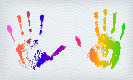 Colorful hand imprints on a waved background Vector