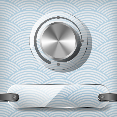 waved: Chrome volume knob with transparency plate on the blue waved background