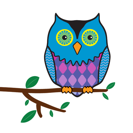 illustration of funny owl sitting on a tree branch  Vector