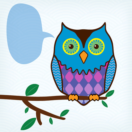 motley owl with message bubble sitting on a tree branch Vector