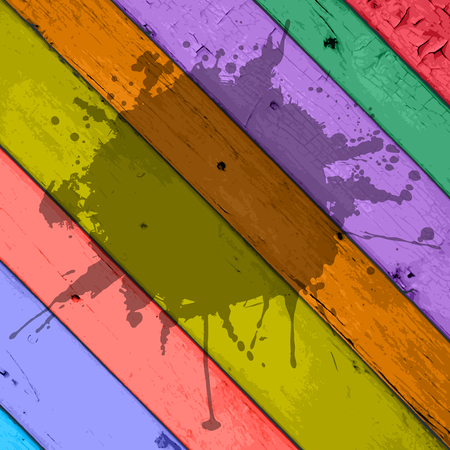 frame with splashes on a colorful grunge striped wooden background Vector