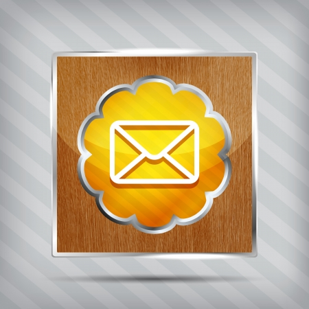 orange mail icon on a wooden plate on a striped background Vector