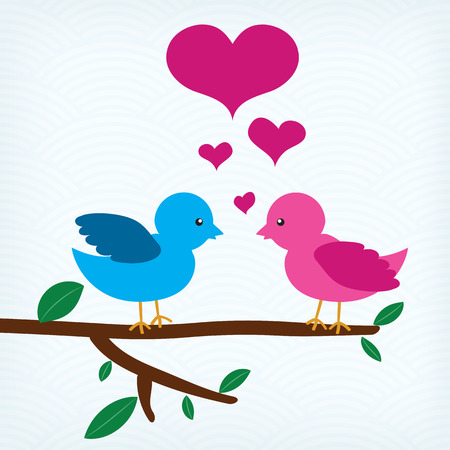 Pair of birds in love sitting on a tree branch Vector