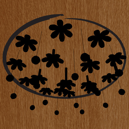 irradiate: silueta moderna l�mpara de ara�a en el fondo de madera Vectores