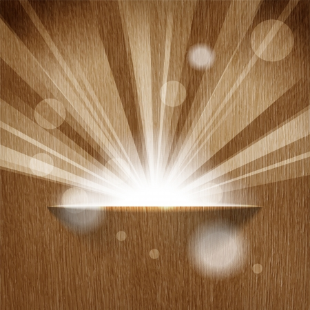 sun on wooden background  with copy space  Illustration