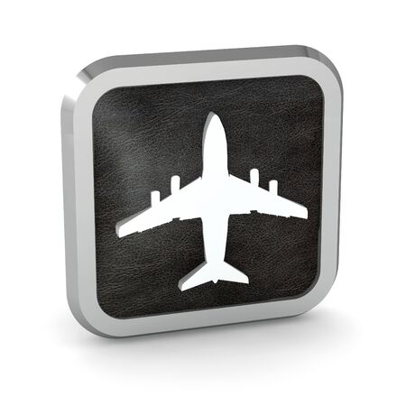 black airplane icon on a white background  photo