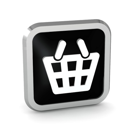 Black shopping basket icon on a white background  photo