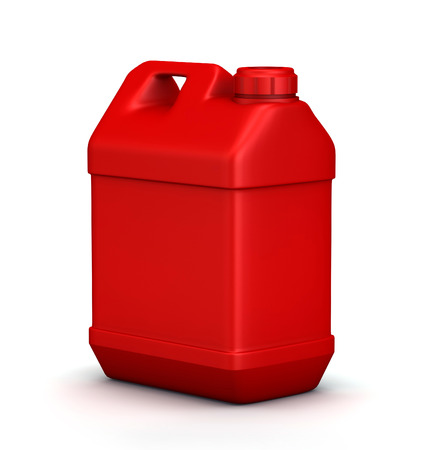 Red jerrycan isolated on a white background photo
