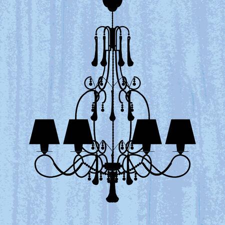 behang blauw: silhouet van luxe kroonluchter op een gekraste blauw behang  template ontwerp van uitnodiging met kroonluchter