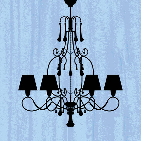 silhouette of luxury chandelier on a scratched blue wallpaper/ template design of invitation with chandelier  Stock Vector - 23836386