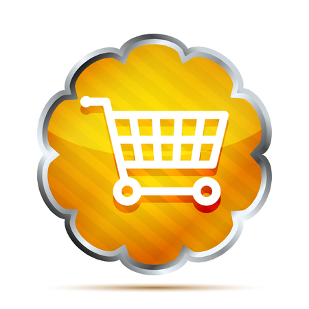 Yellow striped shopping cart icon on a white background  Vector