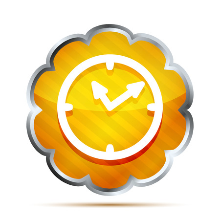 new account: yellow striped shiny watch icon on a white background  Illustration