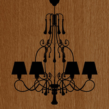 irradiate: luxury chandelier silhouette on the wooden background