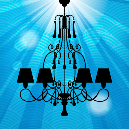 silhouette of luxury chandeliers with rays on a blue waved background  photo