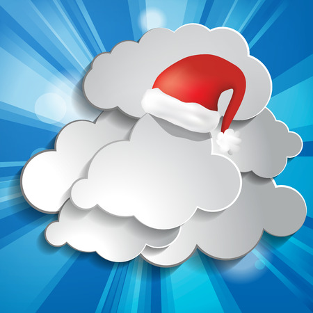 Abstract christmas background with sun rays, clouds and Red Santa Claus Hat Vector