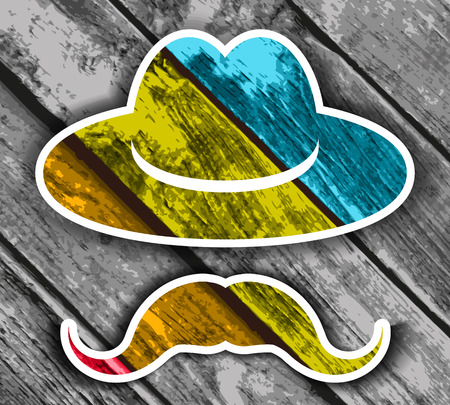 wooden hat: Colorful Wooden hat with mustache on a wooden Planks Background