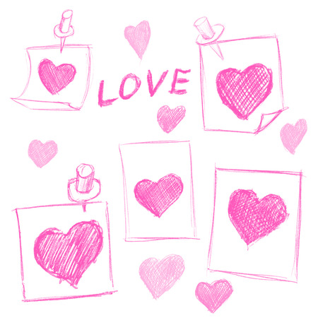 set of Valentines Day notes with scribbled hearts Vector