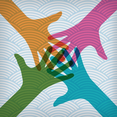 Team symbol. Happy colorful hands on the waved background