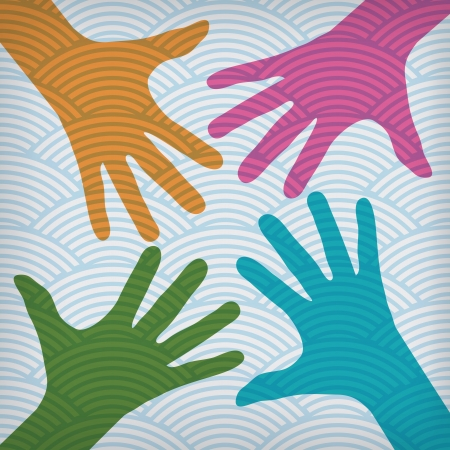 Team symbol. Happy colorful hands on the waved background  Vector