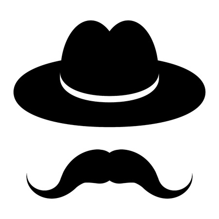 black hat with mustache on a wooden background  Vector