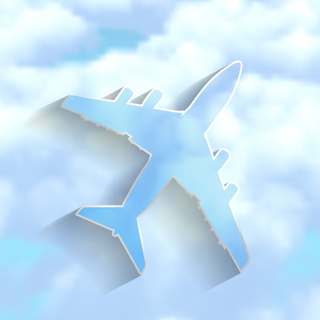 airplane on a blue cloudy sky background Vector