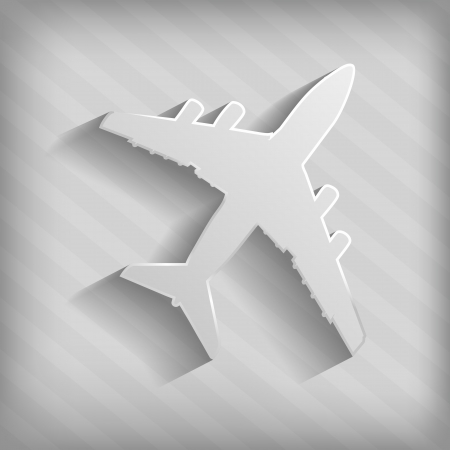clear out: grey silhouette of airplane on a striped background