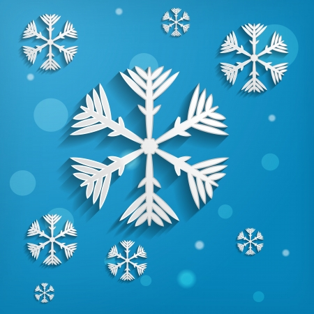 abstract paper snowflakes on blue background Vector