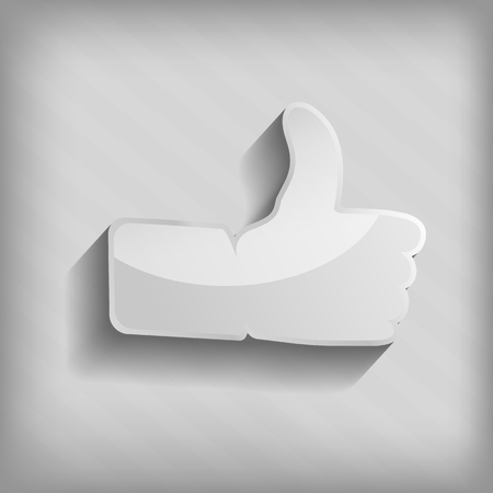 Thumbs up paper sign on striped background. Like symbol used in a social networks Stock Vector - 24262385