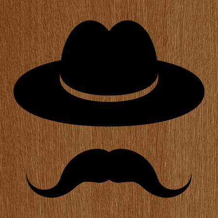 wooden hat: black hat with mustache on a wooden background  Illustration