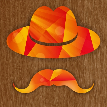 red abstract hat with mustache on a wooden background  Vector