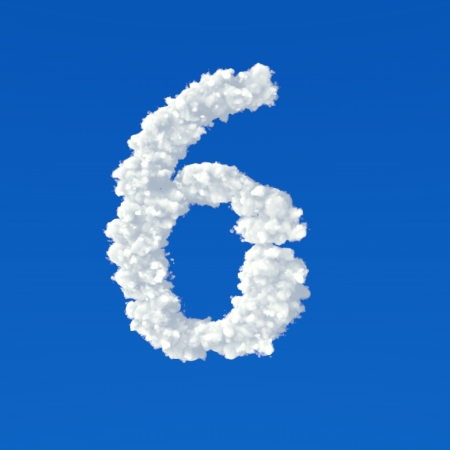 Clouds in shape of number six on a blue  Stok Fotoğraf