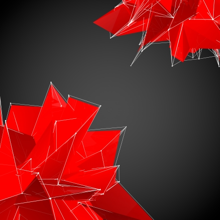 triangulation: abstract red modern triangulation shapes on a black background