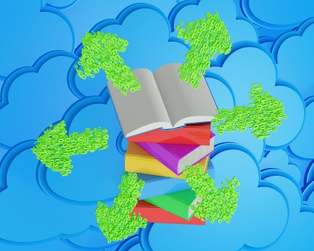 elearn: Stack of multicolored books with open book and green arrows before blue cloud computing icon  e-learning concept