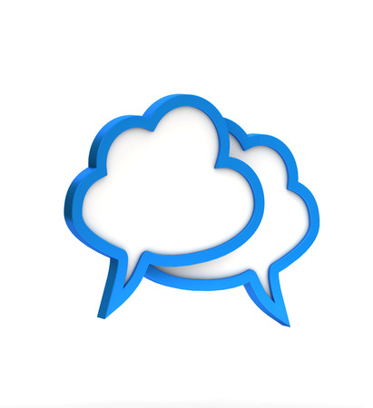 blue cloudy dialog icon on a white