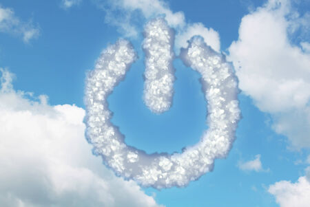 Clouds in shape of power button icon on blue sky with white clouds photo